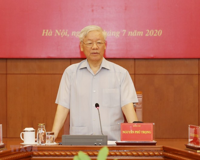 Tổng Bí thư, Chủ tịch nước Nguyễn Phú Trọng phát biểu chỉ đạo phiên họp. (Ảnh: Trí Dũng/TTXVN)