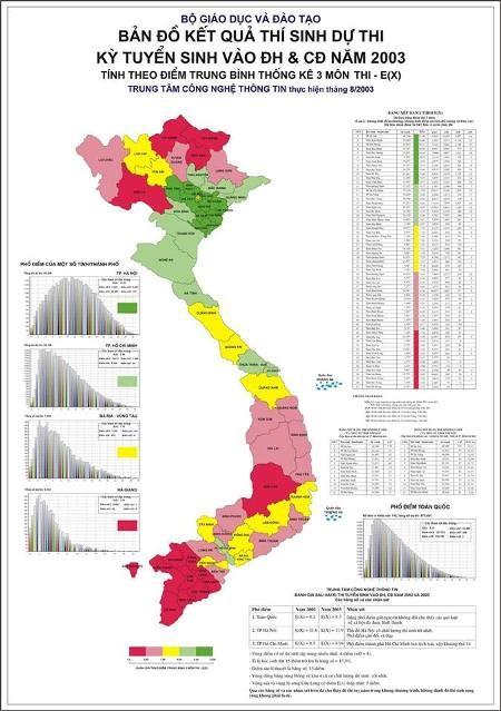 Bản đồ xếp hạng các địa phương có kết quả thi cao trước đây nay đã thay đổi khó