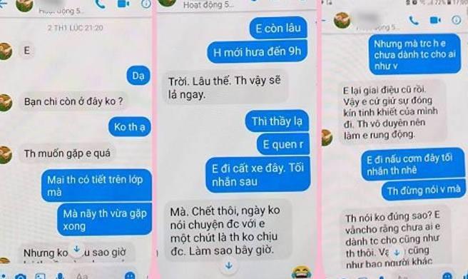 Tin nhắn được cho là của thầy giáo N.Đ.T gửi cho học sinh của mình ở trường THPT Chuyên Thái Bình