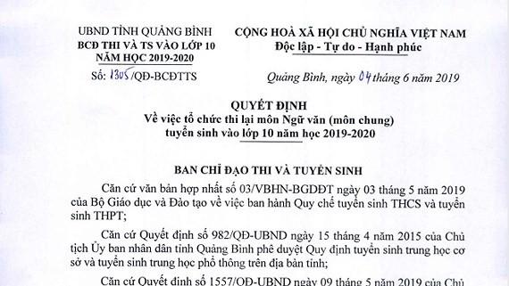 6.400 thí sinh Quảng Bình phải thi lại Ngữ văn kỳ tuyển sinh lớp 10