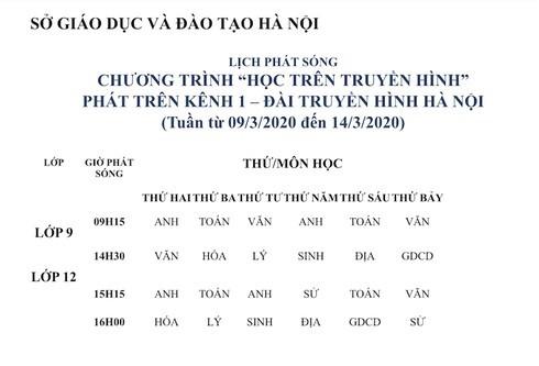 Lịch dạy học trên truyền hình của Hà Nội dành cho học sinh lớp 9 và 12 từ ngày 9/3