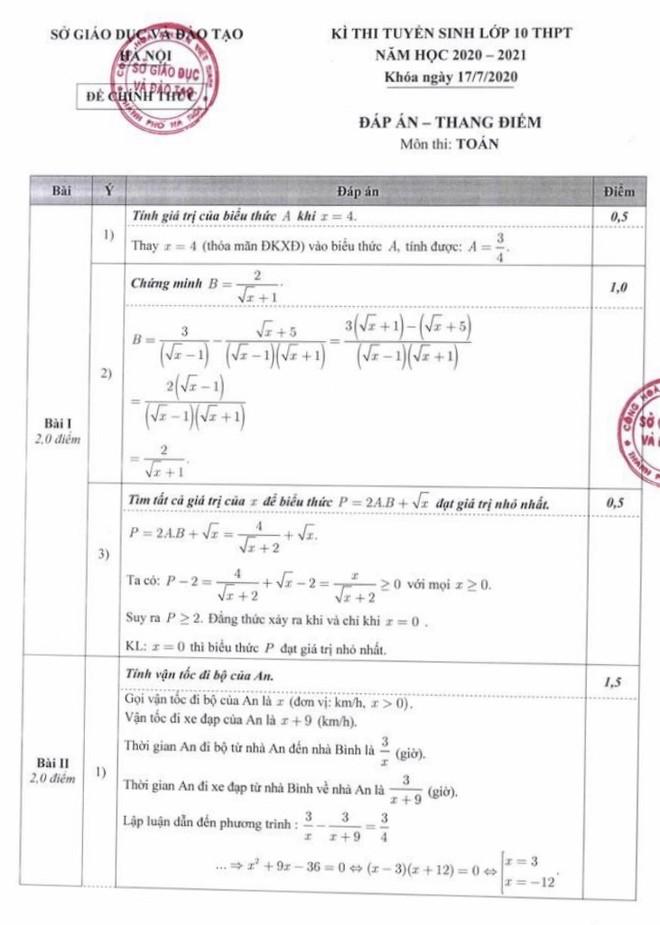 Thí sinh có thể tự chấm điểm với đáp án chính thức 3 môn thi lớp 10 công lập Hà Nội