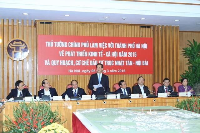 Thủ tướng Chính phủ Nguyễn Tấn Dũng nhấn mạnh: Chính phủ, các bộ ngành cùng có trách nhiệm xây dựng Thủ đô