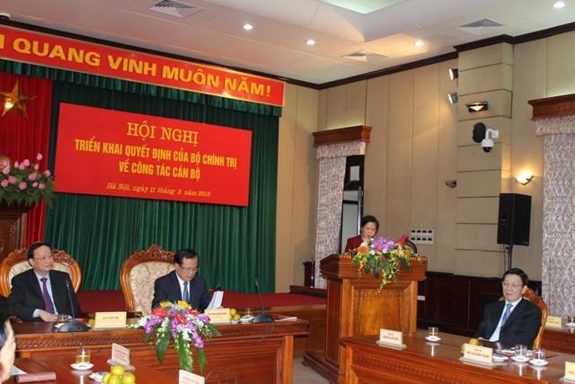Đồng chí Ngô Thị Doãn Thanh phát biểu sau khi nhận quyết định điều động công tác