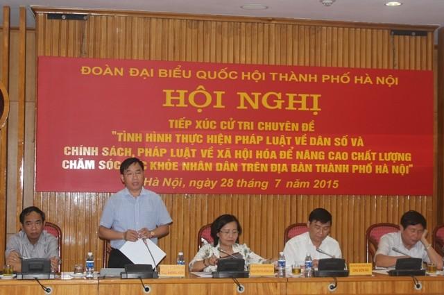 Đoàn ĐBQH Hà Nội tiếp xúc cử tri chuyên đề về công tác y tế, dân số sáng 28-7