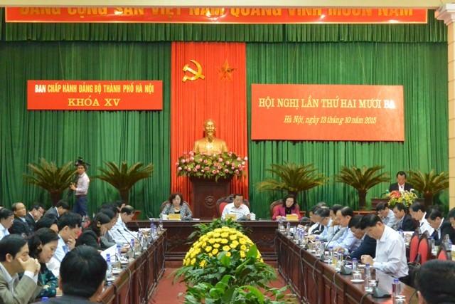 Hội nghị lần thứ 23 Ban Chấp hành Đảng bộ Hà Nội bàn nhiều vấn đề quan trọng