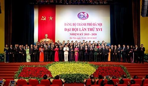 Ban chấp hành Đảng bộ TP Hà Nội khóa XVI ra mắt tại phiên bế mạc Đại hội
