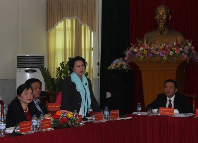 Phó Chủ tịch Quốc hội Nguyễn Thị Kim Ngân phát biểu làm rõ thêm một số thông tin về người được giới thiệu ứng cử tại hội nghị
