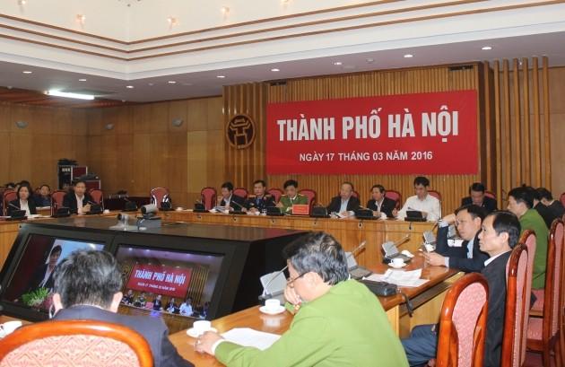 Các đại biểu dự hội nghị trực tuyến của Ủy ban Quốc gia về phòng chống AIDS và phòng chống tệ nạn ma túy, mại dâm tại điểm cầu Hà Nội