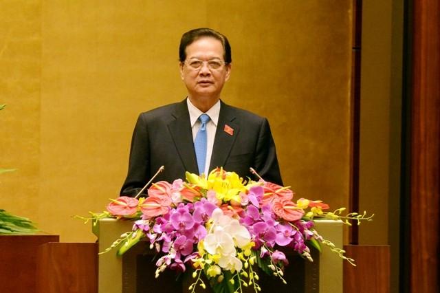Thủ tướng Chính phủ Nguyễn Tấn Dũng báo cáo trước Quốc hội sáng nay, 22-3