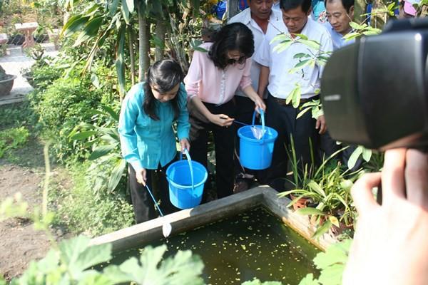 Bộ trưởng Bộ Y tế Nguyễn Thị Kim Tiến (áo xanh) trực tiếp kiểm tra công tác diệt loăng quăng, muỗi vằn truyền bệnh SXH