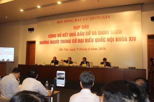 Hội đồng bầu cử Quốc gia họp báo công bố kết quả bầu cử ĐBQH khóa XIV chiều 9-6