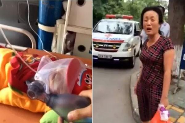 Hình ảnh xe cứu thương chở bệnh nhi đang bóp bóng bị bảo vệ chặn lại
