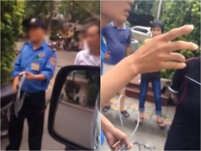 Hình ảnh bảo vệ chặn xe, dùng dây xích khóa xe cứu thương tại Bệnh viện Nhi Trung ương