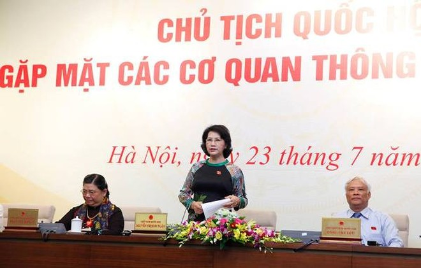 Chủ tịch Quốc hội Nguyễn Thị Kim Ngân chủ trì buổi họp báo