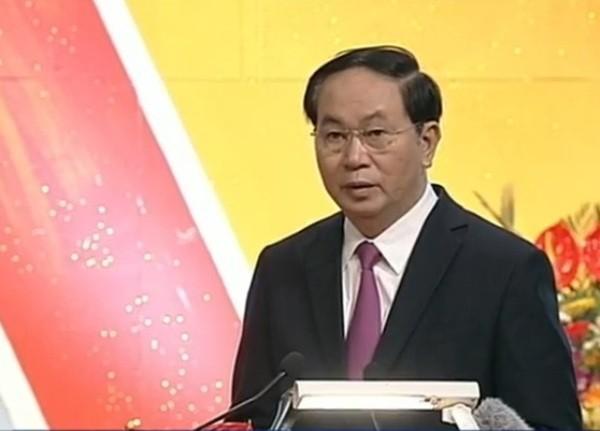 Chủ tịch nước Trần Đại Quang phát biểu tại buổi mít tinh