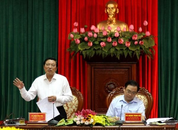 Trưởng Ban Nội chính Trung ương Phan Đình Trạc làm việc với Thành ủy Hà Nội sáng 26-8
