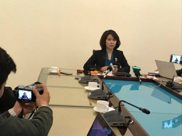Phó Giám đốc Sở Y tế Hà Nội Trần Thị Nhị Hà trả lời báo chí trưa 26-12