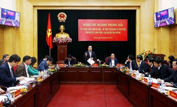 Bí thư Thành ủy Hà Nội Hoàng Trung Hải phát biểu chỉ đạo tại buổi làm việc với quận Ba Đình