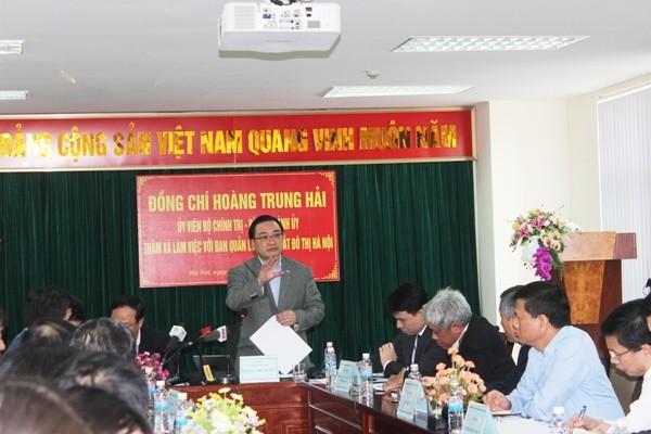 Bí thư Thành ủy Hà Nội Hoàng Trung Hải yêu cầu phải đẩy nhanh tiến độ thi công