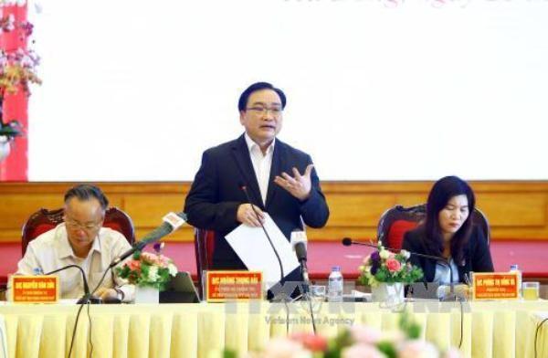 Bí thư Thành ủy Hà Nội Hoàng Trung Hải phát biểu tại buổi làm việc