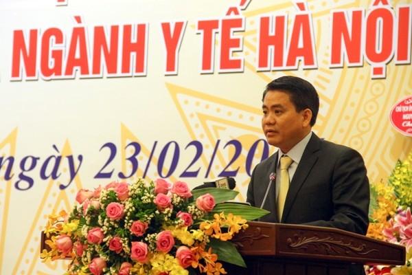 Chủ tịch UBND TP Hà Nội Nguyễn Đức Chung phát biểu chúc mừng