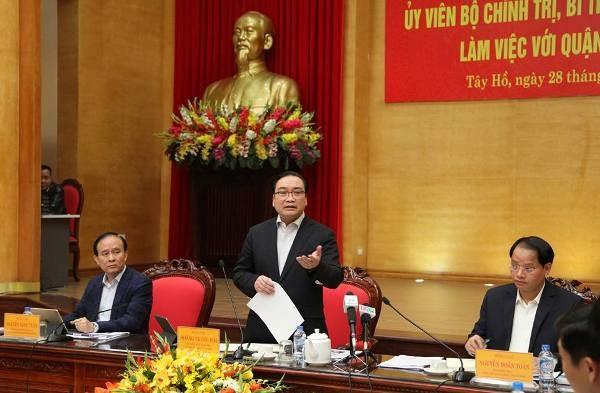 Bí thư Thành ủy Hà Nội Hoàng Trung Hải phát biểu chỉ đạo tại buổi làm việc