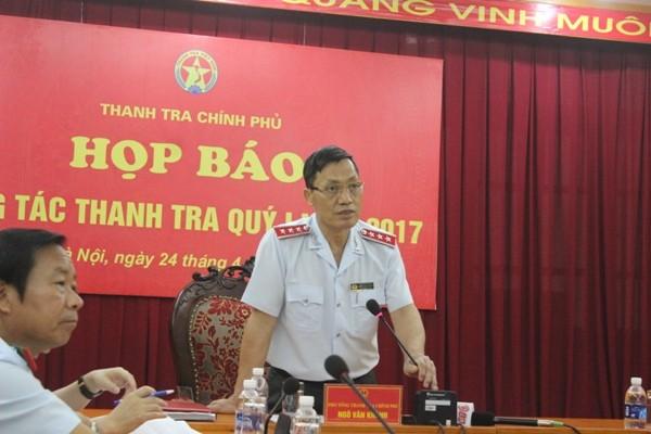 Phó Tổng Thanh tra Chính phủ Ngô Văn Khánh chủ trì buổi họp báo