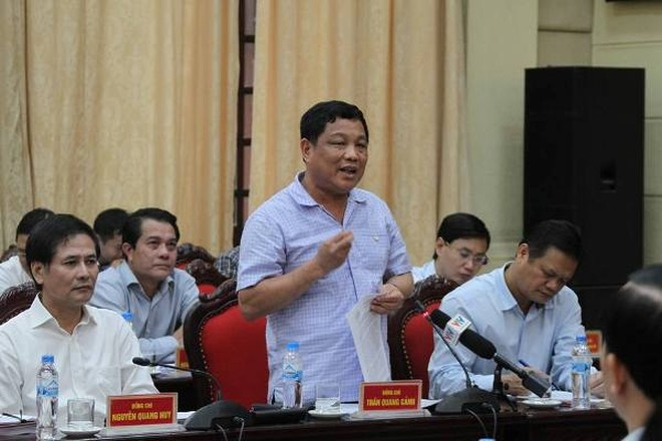 Chủ nhiệm Ủy ban kiểm tra Thành ủy Hà Nội Trần Quang Cảnh phát biểu tại hội nghị