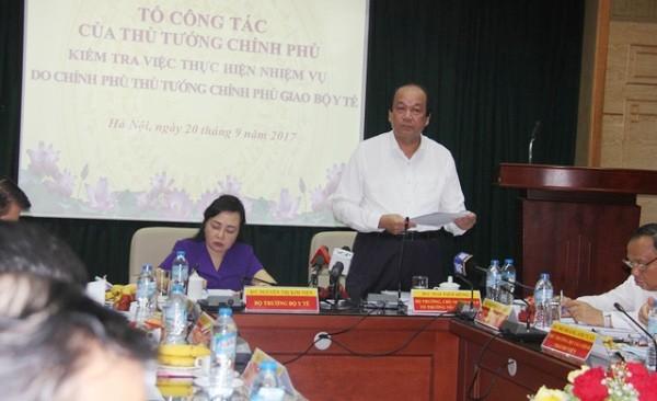 Tại buổi kiểm tra ở Bộ Y tế, Bộ trưởng - Chủ nhiệm VPCP Mai Tiến Dũng chỉ rõ