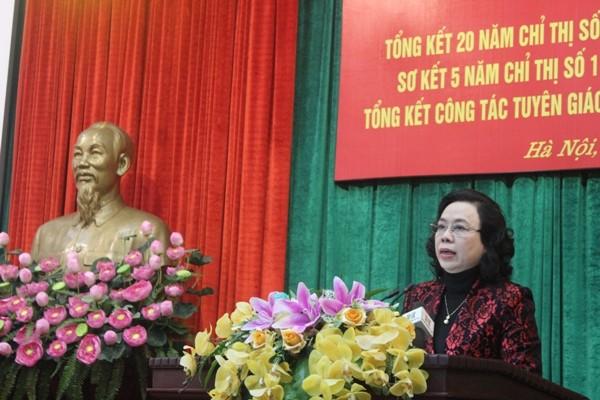 Phó Bí thư Thường trực Thành ủy Ngô Thị Thanh Hằng phát biểu chỉ đạo