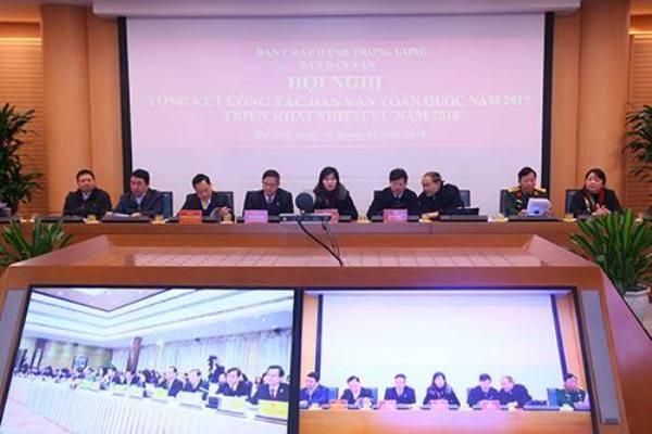 Các đại biểu dự hội nghị trực tuyến tổng kết công tác dân vận tại điểm cầu Hà Nội