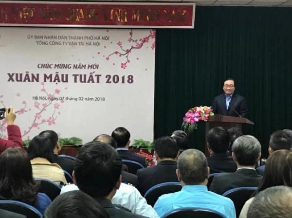 Bí thư Thành ủy Hoàng Trung Hải phát biểu chúc Tết cán bộ, công nhân viên Tổng Công ty vận tải Hà Nội