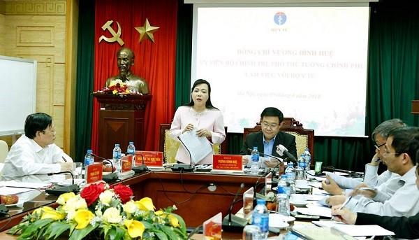 Bộ trưởng Bộ Y tế Nguyễn Thị Kim Tiến phát biểu tại buổi làm việc