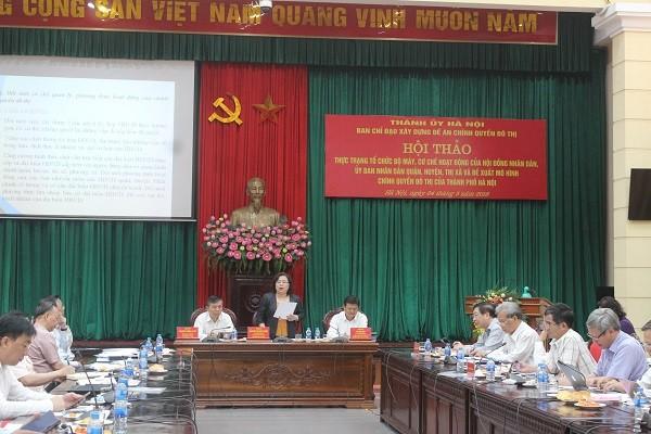 Chủ tịch HĐND TP Hà Nội Nguyễn Thị Bích Ngọc phát biểu tại hội thảo