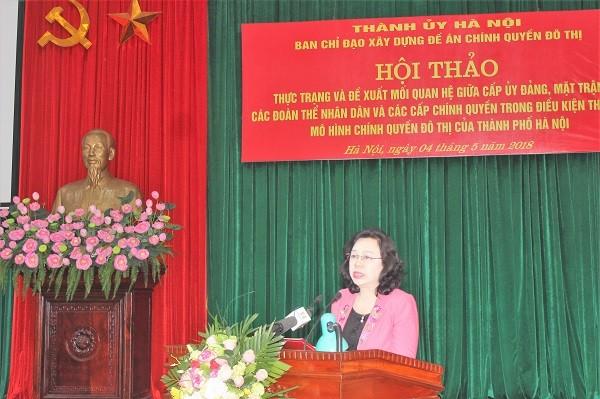 Phó Bí thư Thường trực Thành ủy Hà Nội Ngô Thị Thanh Hằng phát biểu tại hội thảo