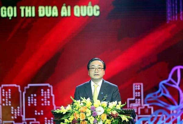 Bí thư Thành ủy Hà Nội Hoàng Trung Hải phát biểu tại hội nghị sáng nay, 2-6