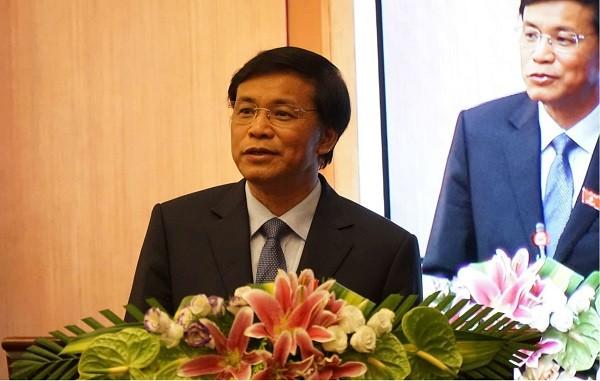 Tổng thư ký Quốc hội Nguyễn Hạnh Phúc chủ trì buổi họp báo chiều 15-6
