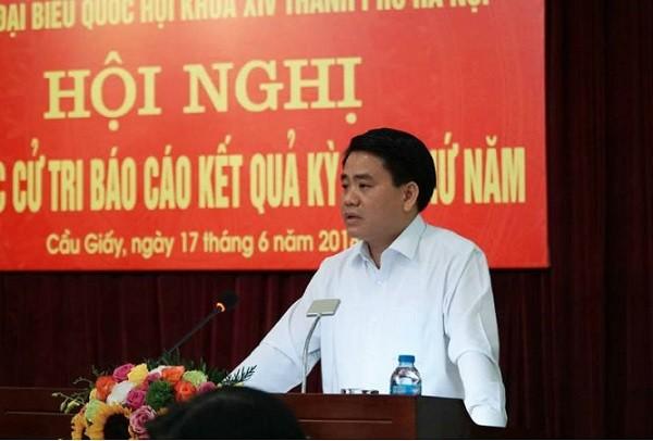 Chủ tịch UBND TP Hà Nội Nguyễn Đức Chung phát biểu tại cuộc