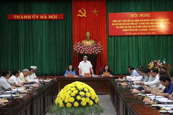 Bí thư Thành ủy Hà Nội Hoàng Trung Hải chủ trì hội nghị sáng 20-6