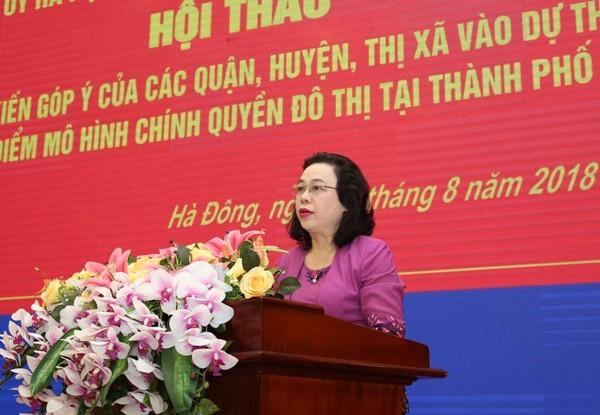 Phó Bí thư Thường trực Thành ủy Ngô Thị Thanh Hằng phát biểu tại hội thảo