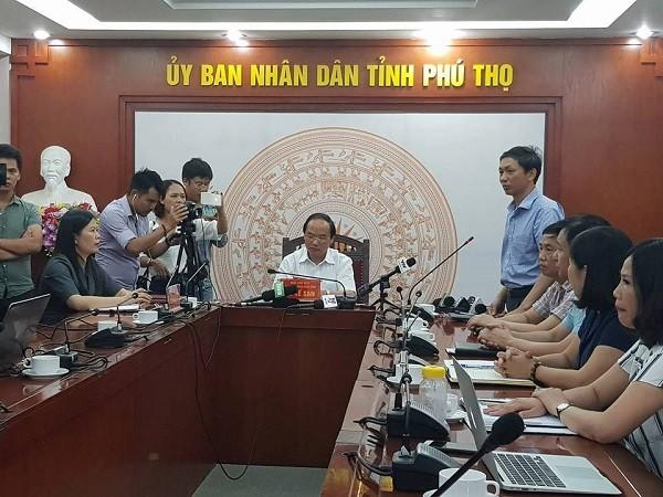 Buổi họp báo diễn ra cuối buổi chiều nay, tại trụ sở UBND tỉnh Phú Thọ