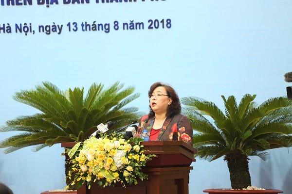 Chủ tịch HĐND TP Hà Nội Nguyễn Thị Bích Ngọc phát biểu khai mạc phiên giải trình