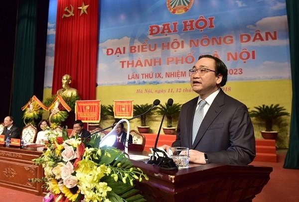 Bí thư Thành ủy Hà Nội Hoàng Trung Hải phát biểu tại đại hội