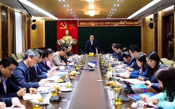 Bí thư Thành ủy Hà Nội Hoàng Trung Hải phát biểu chỉ đạo tại hội nghị