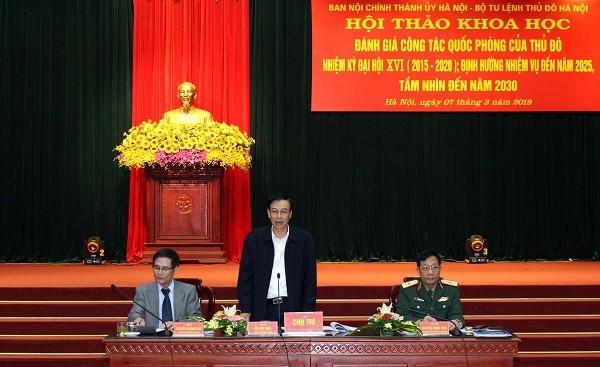 Phó Bí thư Thành ủy Hà Nội Đào Đức Toàn phát biểu tại hội thảo