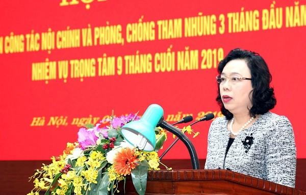 Phó Bí thư Thường trực Thành ủy Hà Nội Ngô Thị Thanh Hằng phát biểu chỉ đạo tại hội nghị