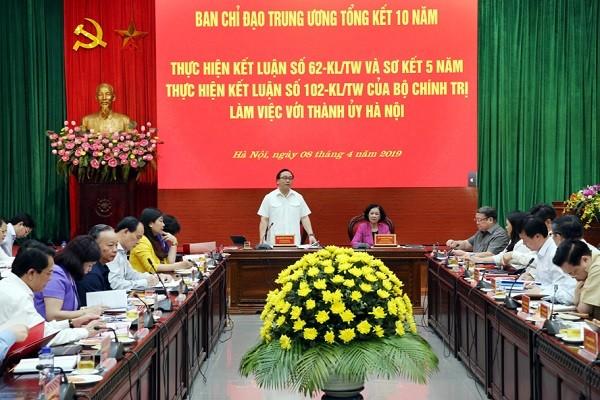 Bí thư Thành ủy Hà Nội Hoàng Trung Hải phát biểu tiếp thu ý kiến của đoàn kiểm tra