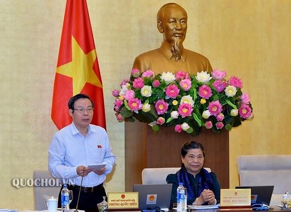 Phó Chủ tịch Quốc hội Phùng Quốc Hiển cho ý kiến tại phiên họp (Ảnh: Quochoi.vn)