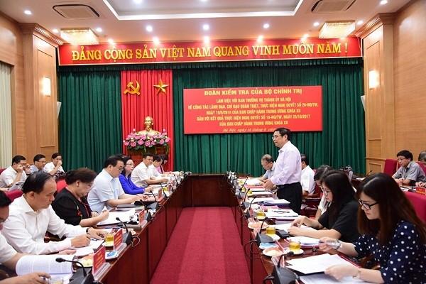 Trưởng ban Tổ chức Trung ương Phạm Minh Chính làm việc với TP Hà Nội